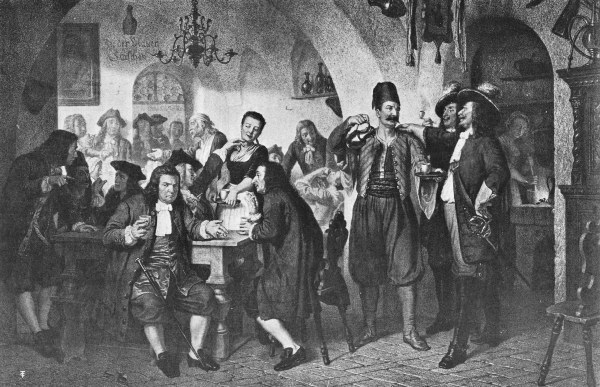 KOLSCHITZKY, THE GREAT BROTHER-HEART, IN HIS BLUE BOTTLE CAFÉ, VIENNA, 1683