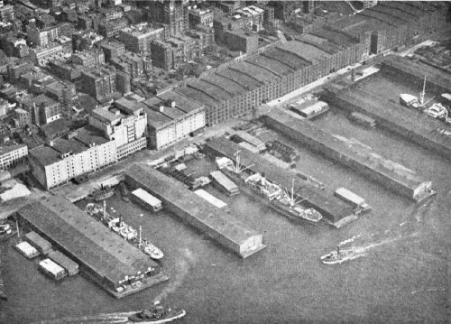 Airplane View of New York Dock Company's Piers and Warehouses