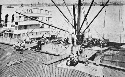 Unloading a Coffee Ship by Block and Tackle at the Port of New Orleans
