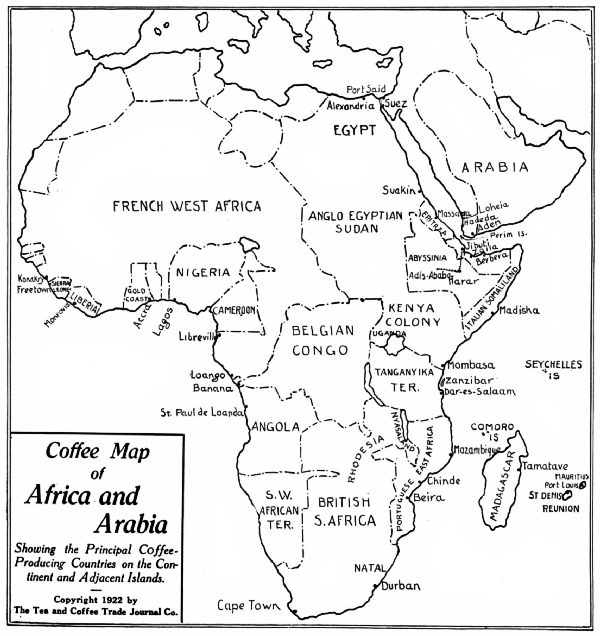 Coffee Map of Africa and Arabia