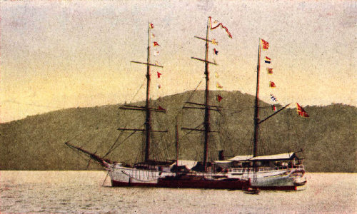 Old-Time Sailing Vessel Loading in Padang Roads